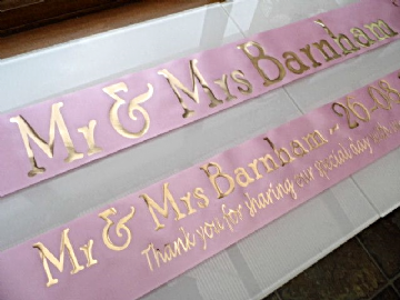 Personalised Wedding Banner - Pink & Gold